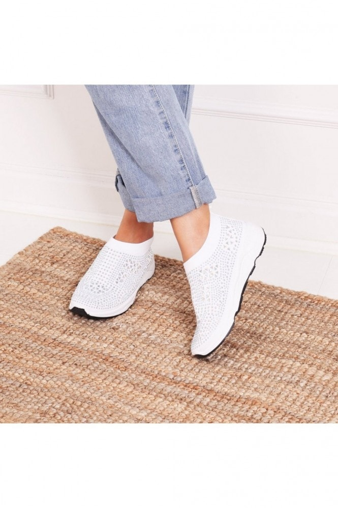 Linzi AMBITIOUS - White Sock Trainer With All Over Diamante Detail and White Rubber Sole