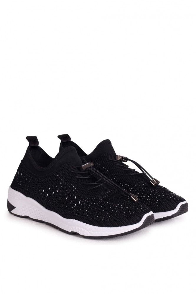 Linzi STAR - Black Flyknit and Lycra Trainer With All Over Diamante Detail