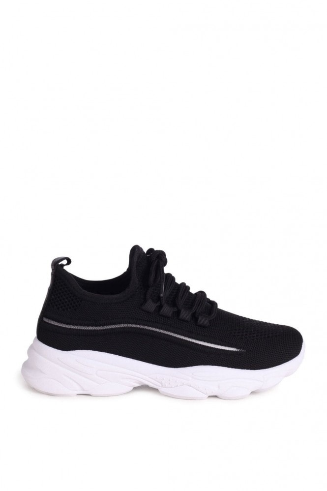 Linzi SO FINE - Black Flyknit Trainer With Lace Up Detail and Chunky White Rubber Sole