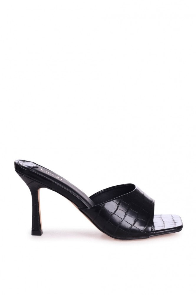 Linzi PENELOPE - Black Croc Slip On Square Toe Mule