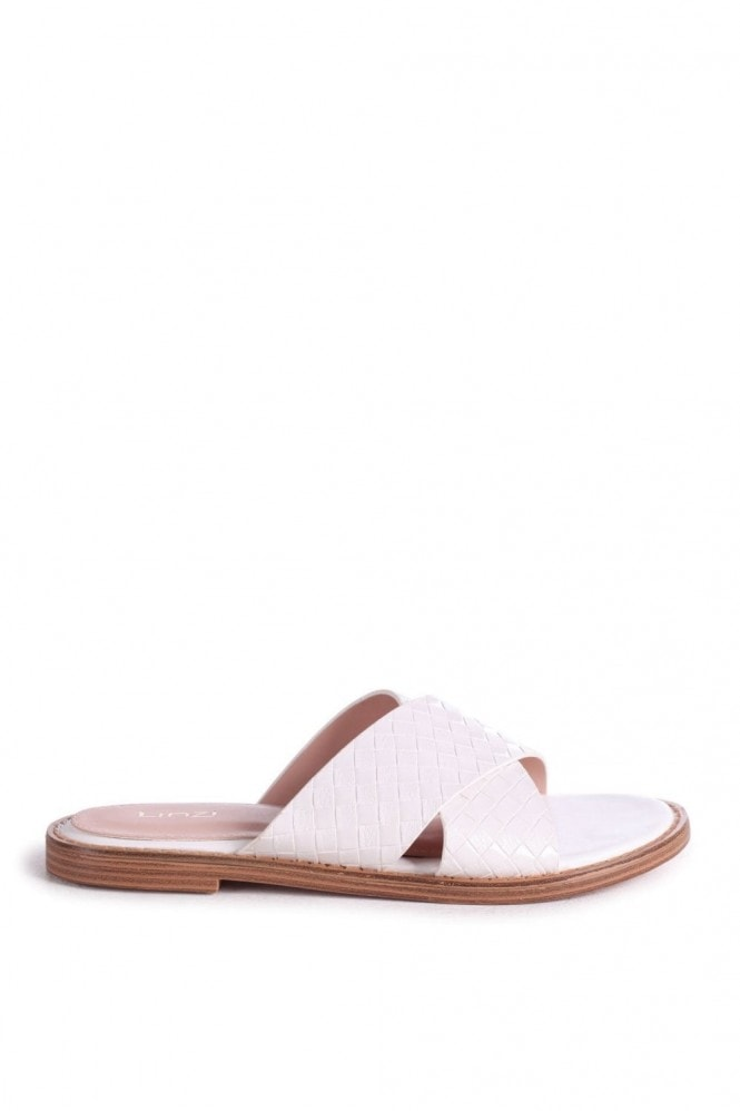 Linzi HARLEM - White Slip On Slider With Woven Crossover Front Strap