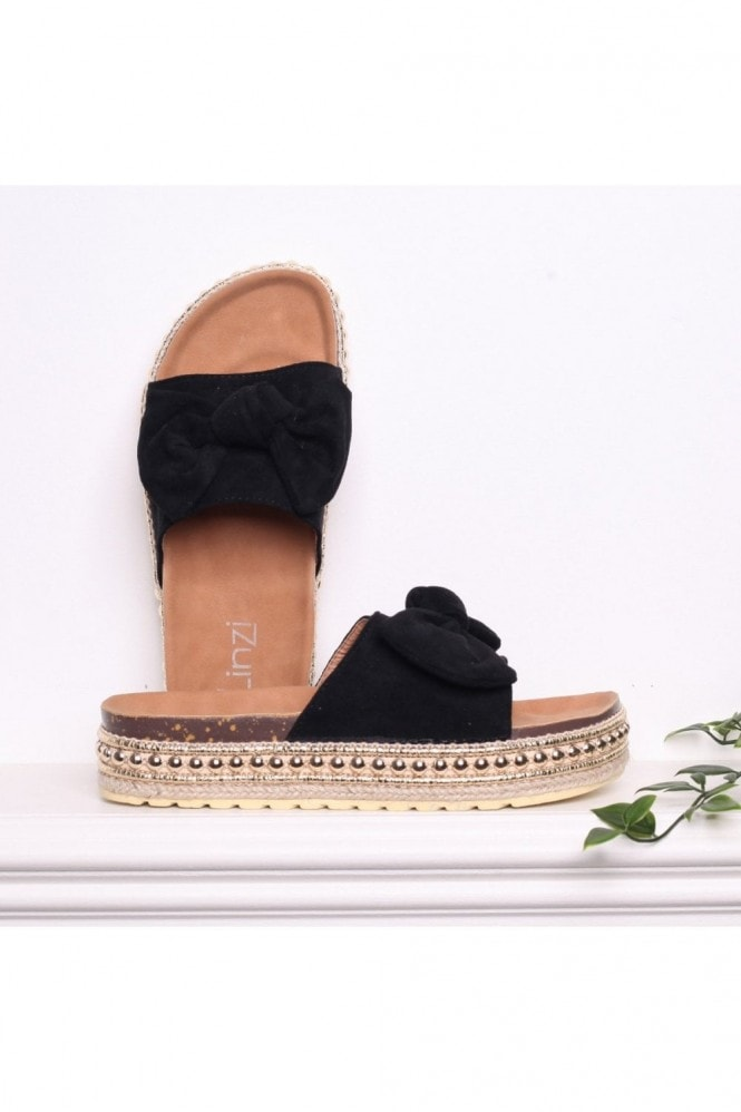 Linzi RARE - Black Suede Slip On Slider With Bow Detail and Beaded Trim