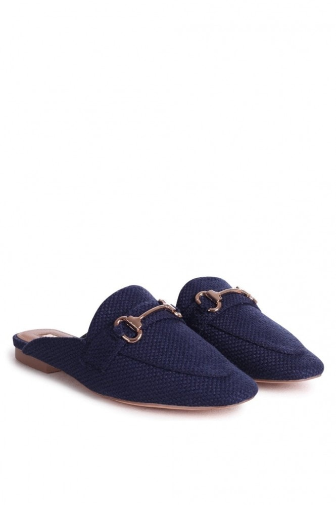 Linzi JAXON - Navy Woven Slip On Loafer Style Mule With Gold Trim