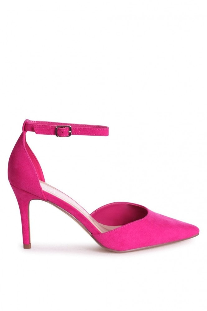 Linzi MACI - Fuchsia Suede Stiletto Court Heel With Ankle Strap