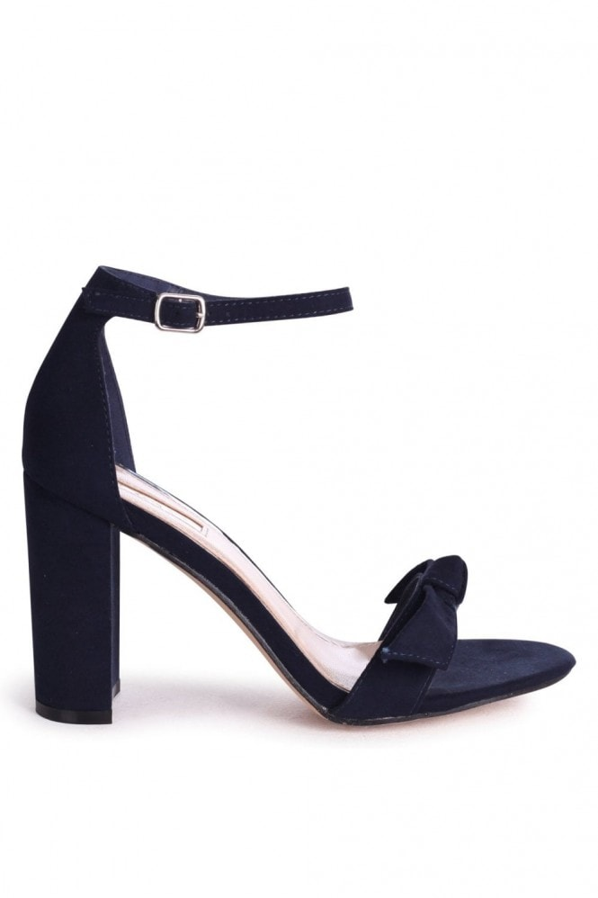 Linzi BEAUBELL - Navy Suede Block Heeled Sandal With Front Bow Detail