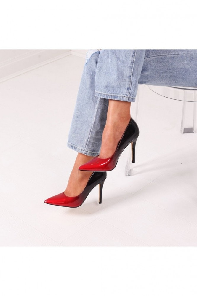 Linzi DYNAMIC - Red and Black Ombre Effect Stiletto Court Heel