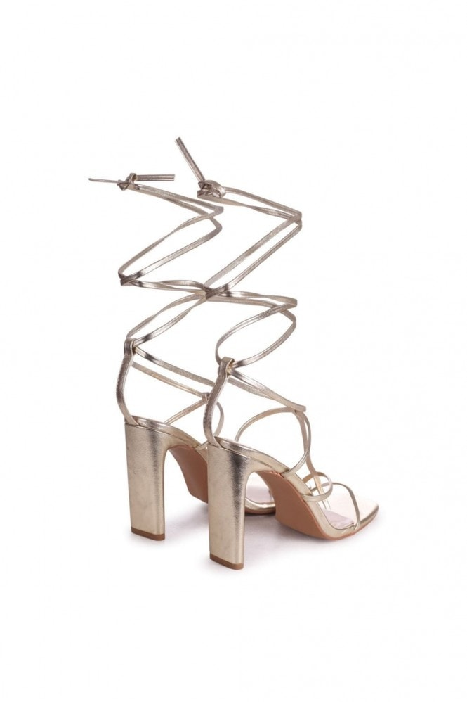 Linzi ROSEWOOD - Gold Nappa Strappy Lace Up Heeled Sandal