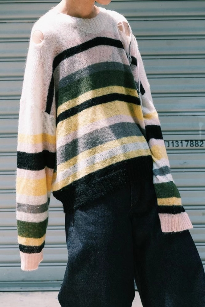 LUXMIX Yellow Multi colour stripe mohair knitted sweater