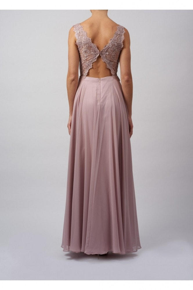 MASCARA LONDON SOFT LACE DETAILED MAXI DRESS