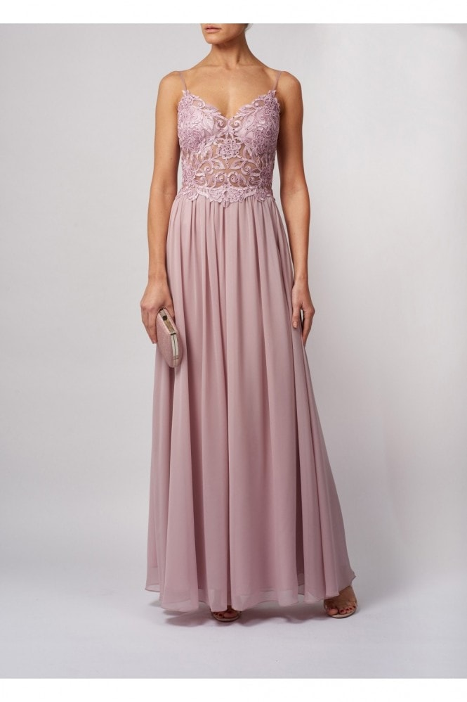 MASCARA LONDON DELICATE PETALLED CLEAR APPLIQUE CHIFFON MAXI DRESS