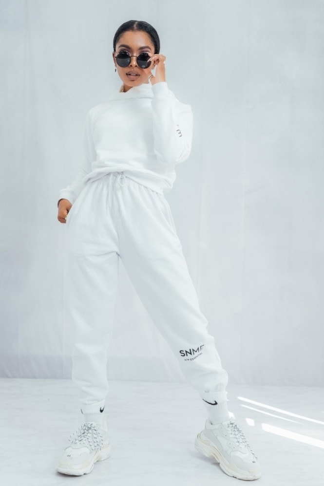 Sian Marie Essential Cropped Hoodie - White