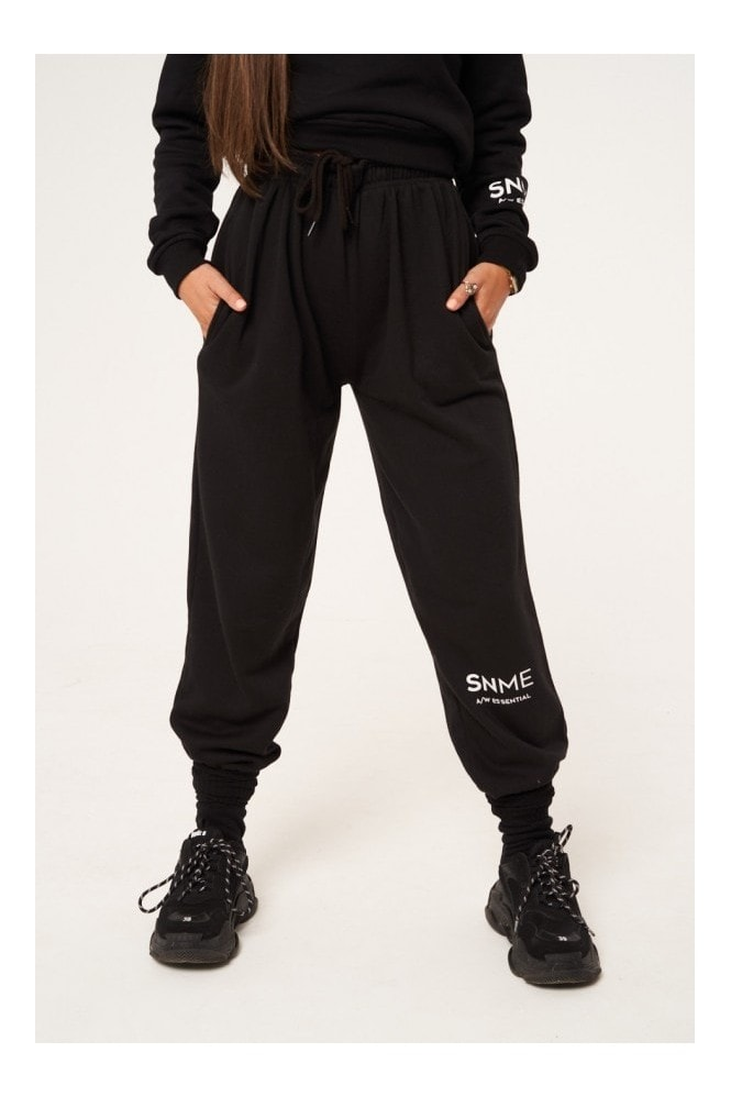 Sian Marie Essential High Waisted Baggy Joggers - Black