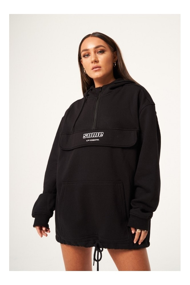 Sian Marie Oversized Pull Over Zip Hoodie - Black