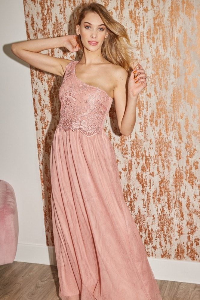 Little Mistress Bridesmaid Lani Apricot Sequin Embroidered One-Shoulder Maxi Dress