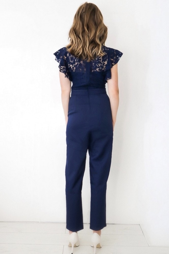 Little Mistress Caitlyn Navy Lace Frill Tapered Jumpsuit