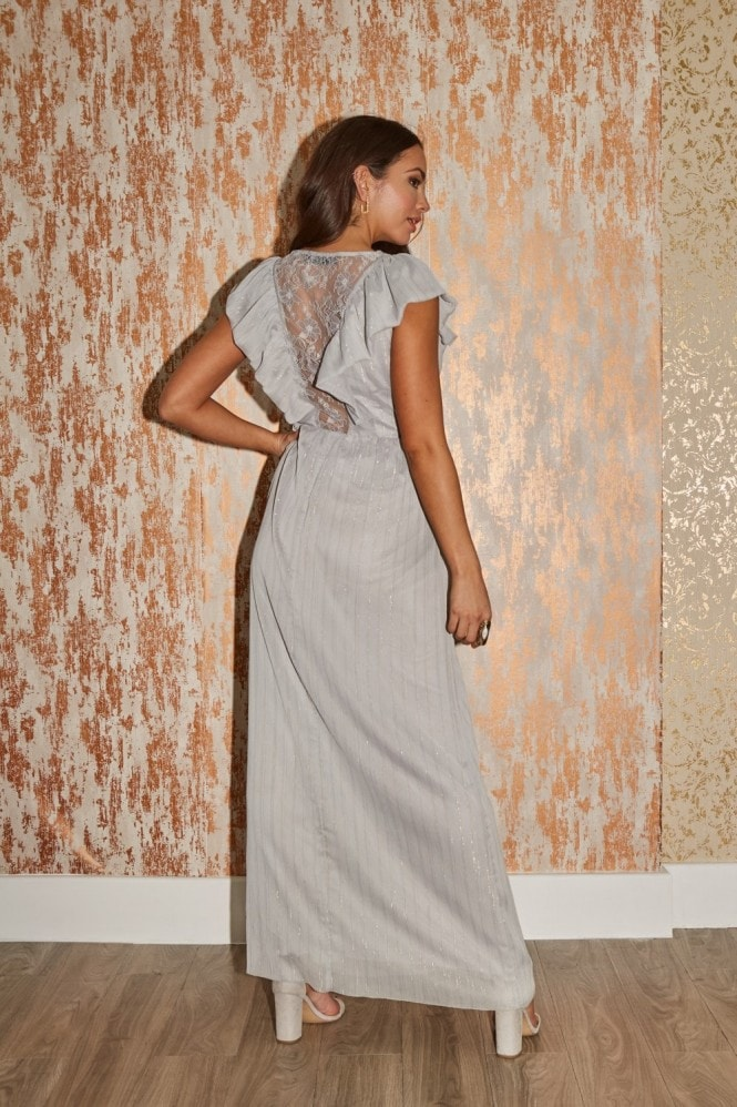 Little Mistress Tyler Grey Lurex Ruffle Maxi Dress