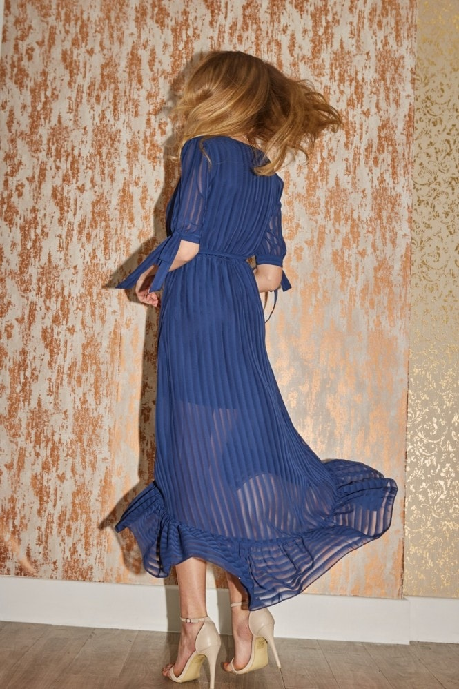 Little Mistress Bailey Navy Stripe Mock Wrap Maxi Dress