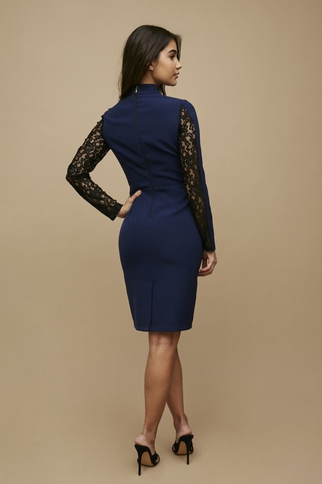 Paper Dolls Lesay Navy Lace Insert Bodycon Dress