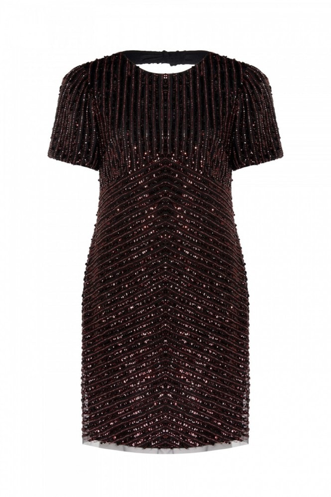 Adrianna Papell Beaded Short Dress In Black/Red