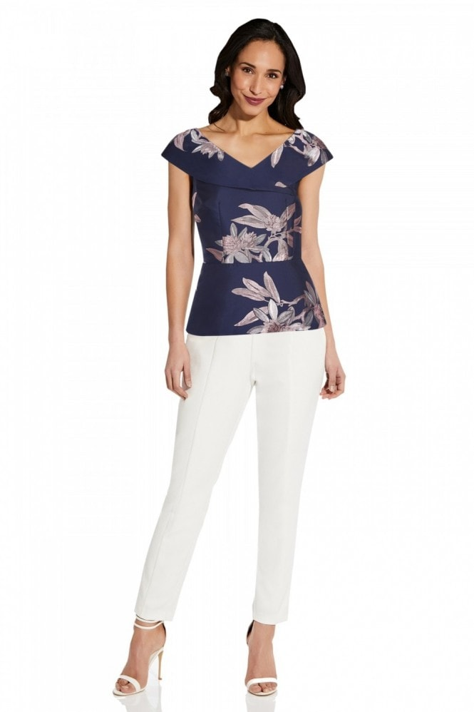 Adrianna Papell Floral Jacquard Top In Navy/Blush