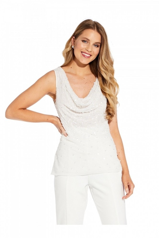 Adrianna Papell Beaded Cowl Shell Top In Ivory