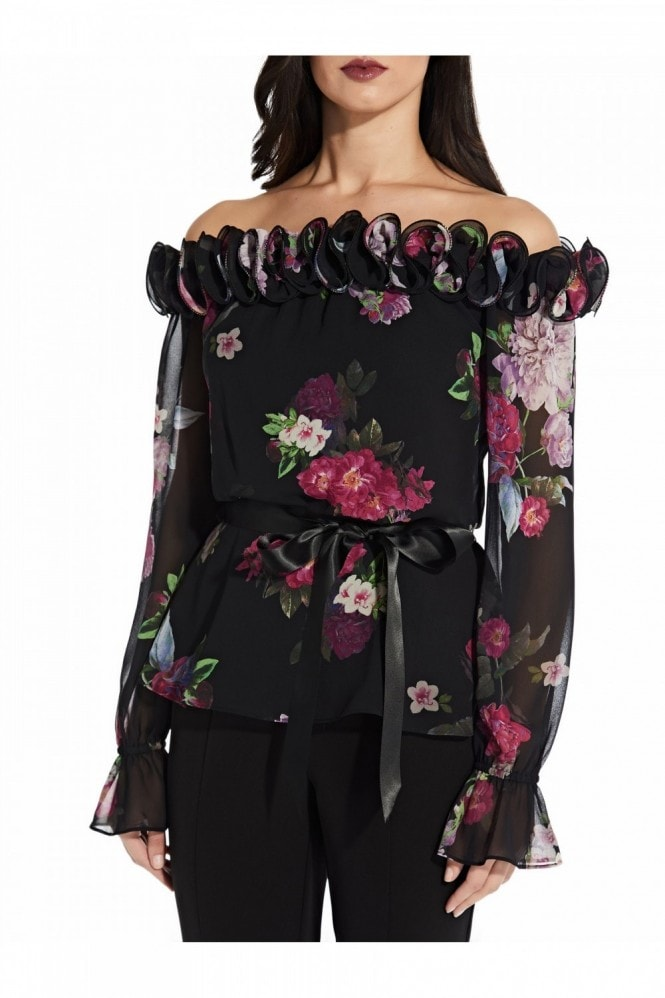 Adrianna Papell Print Chiffon Top In Pink/Black Multi