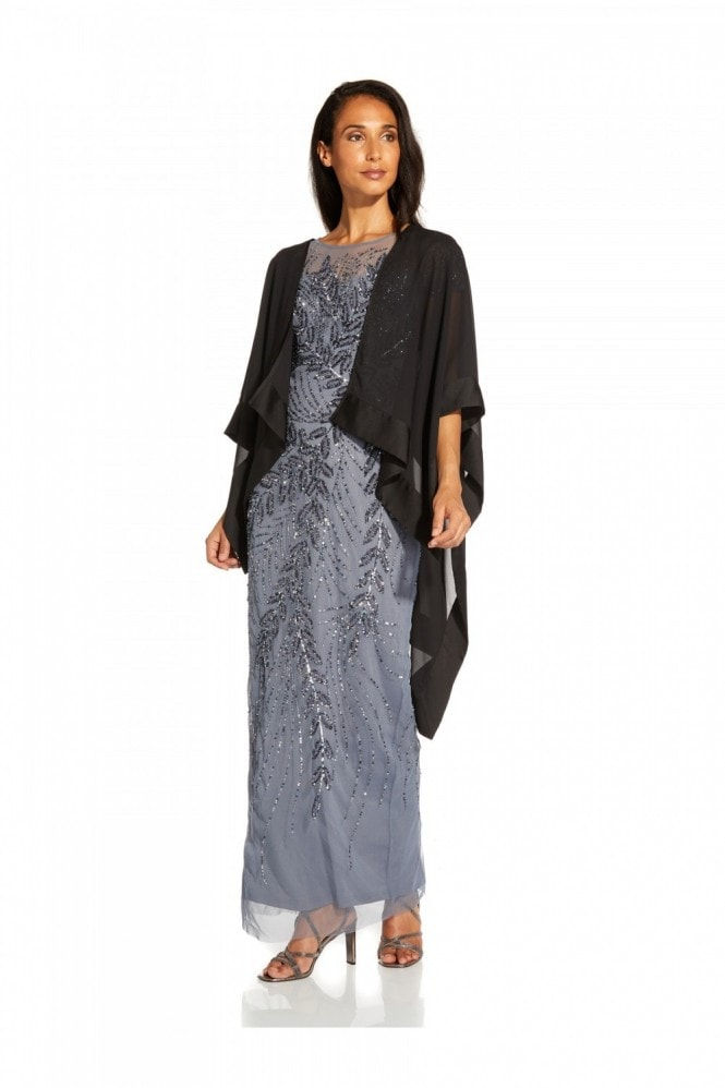 Adrianna Papell Chiffon Cape Coverup In Black