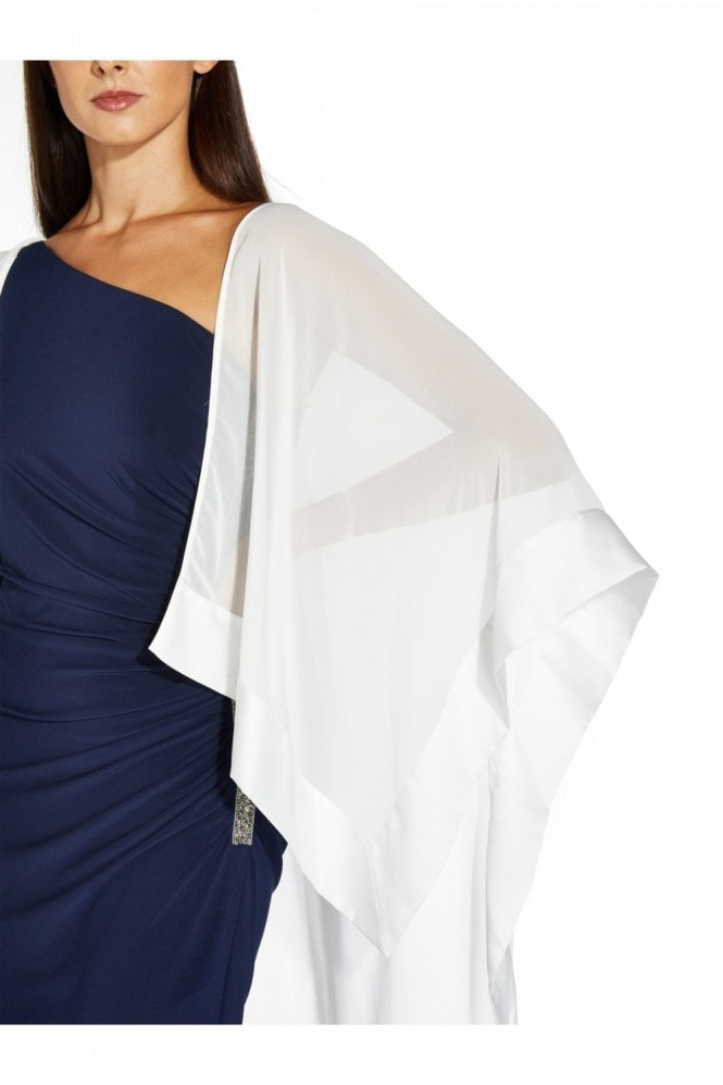 Adrianna Papell Chiffon Cape Coverup In Ivory