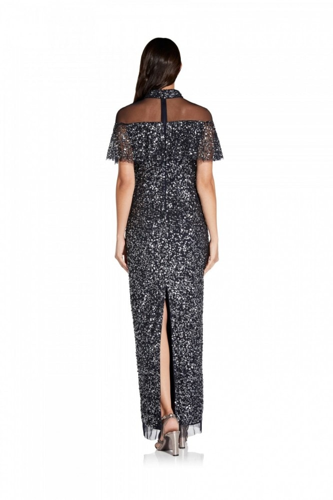 Adrianna Papell Beaded Column Gown In Midnight
