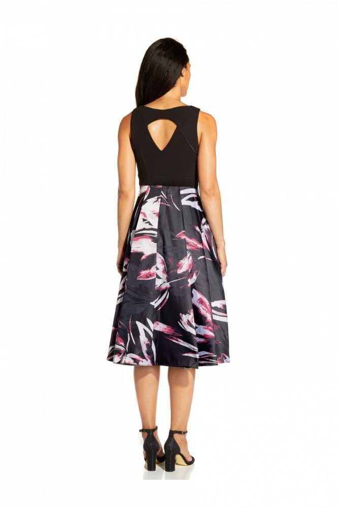 Adrianna Papell Crepe Jacquard Dress In Magenta Multi