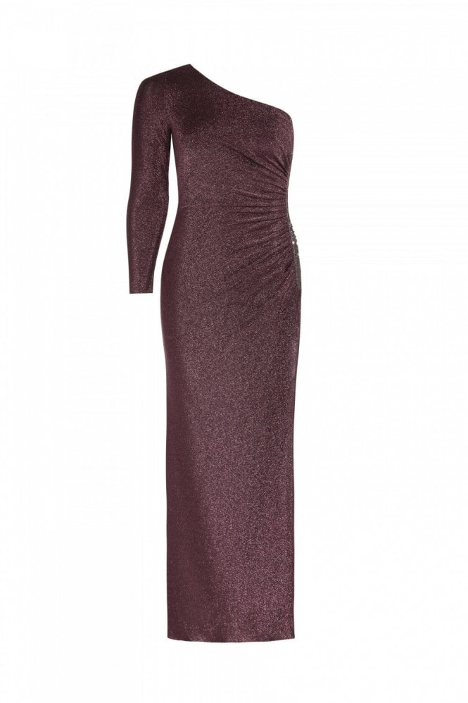Adrianna Papell Metallic Jersey Dress In Amethyst
