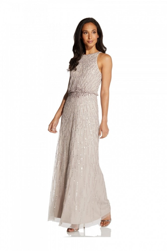 Adrianna Papell Beaded Blouson Gown In Marble