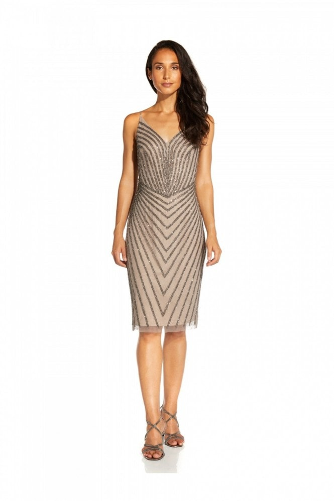 Adrianna Papell Short Beaded Cocktail Dress In Deep Platinum