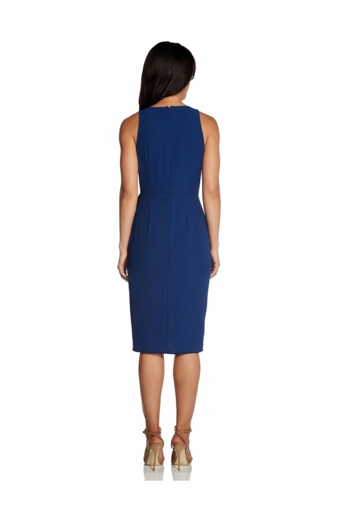 Adrianna Papell Divine Crepe Wrap Dress In Navy