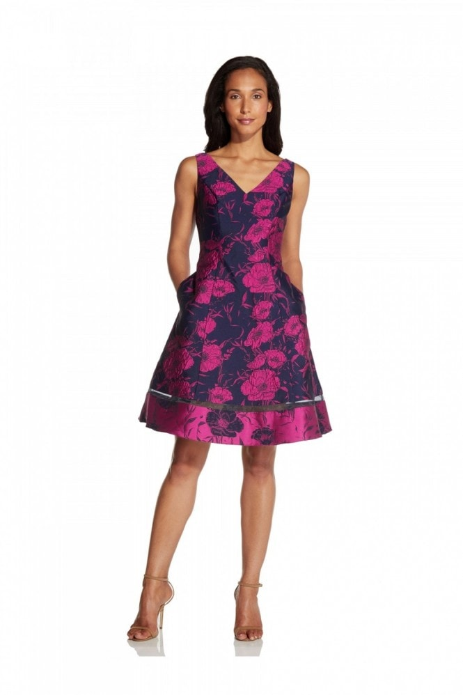 Adrianna Papell Two-Tone Jacquard Flared Dress In Navy/Fuchsia