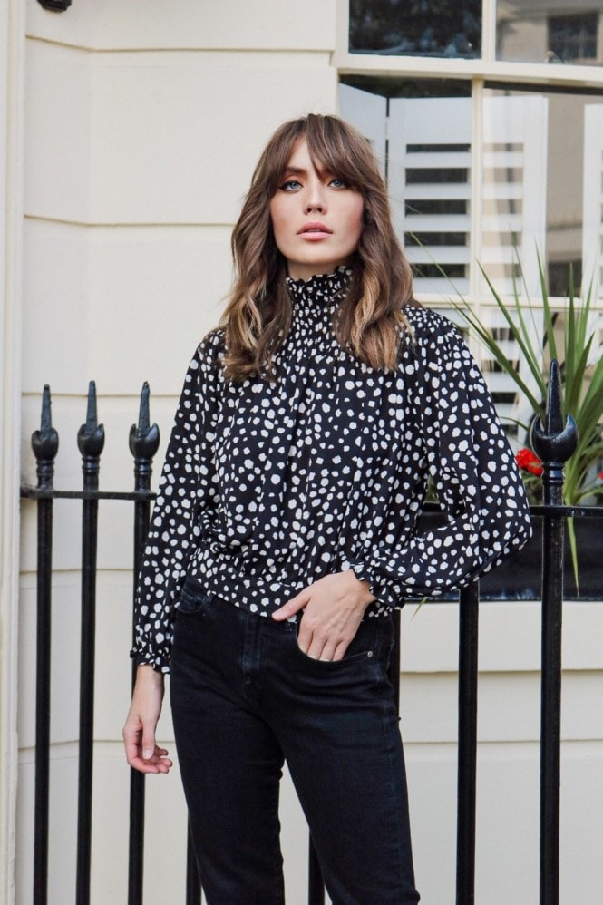 Black Dalmatian High Neck Bell Sleeve Blouse