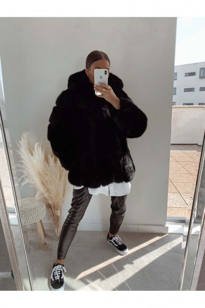 Silk Leopard Black Faux Fur Hooded Jacket