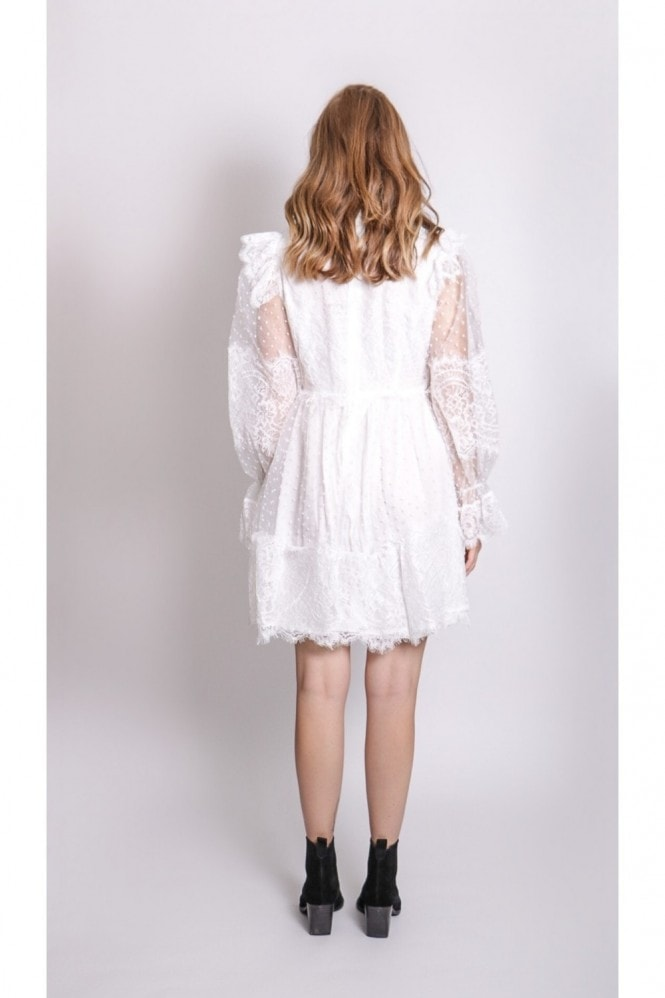 White Lace Plated Dress With Pussy Bow