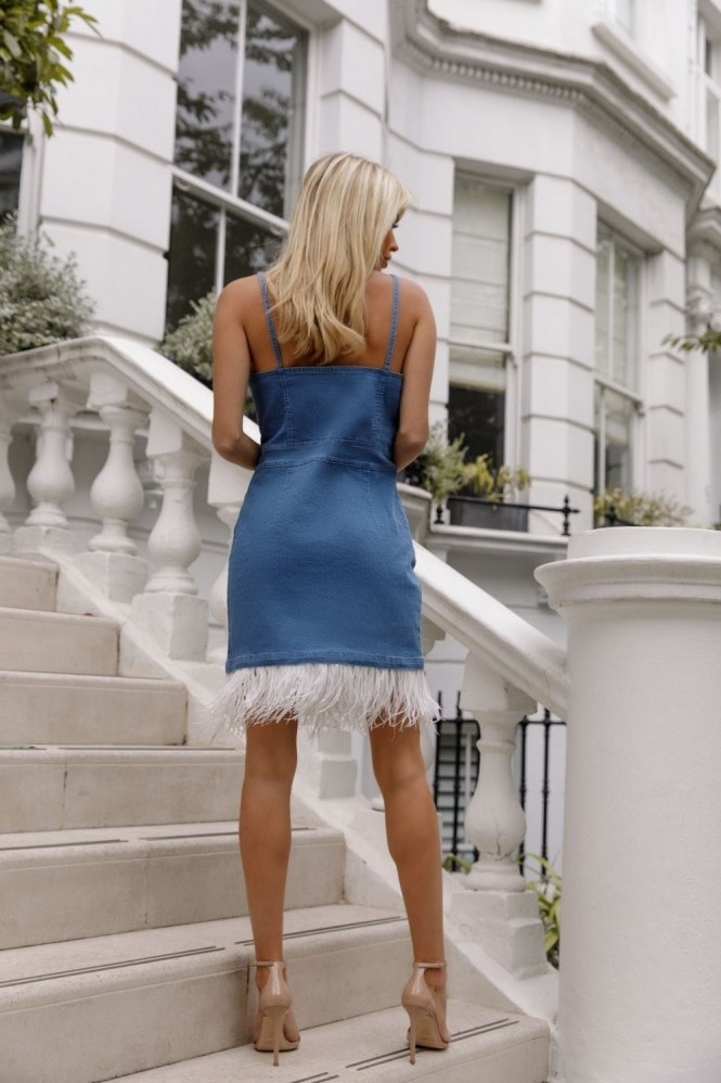 Kands London Denim Feather Detail Dress