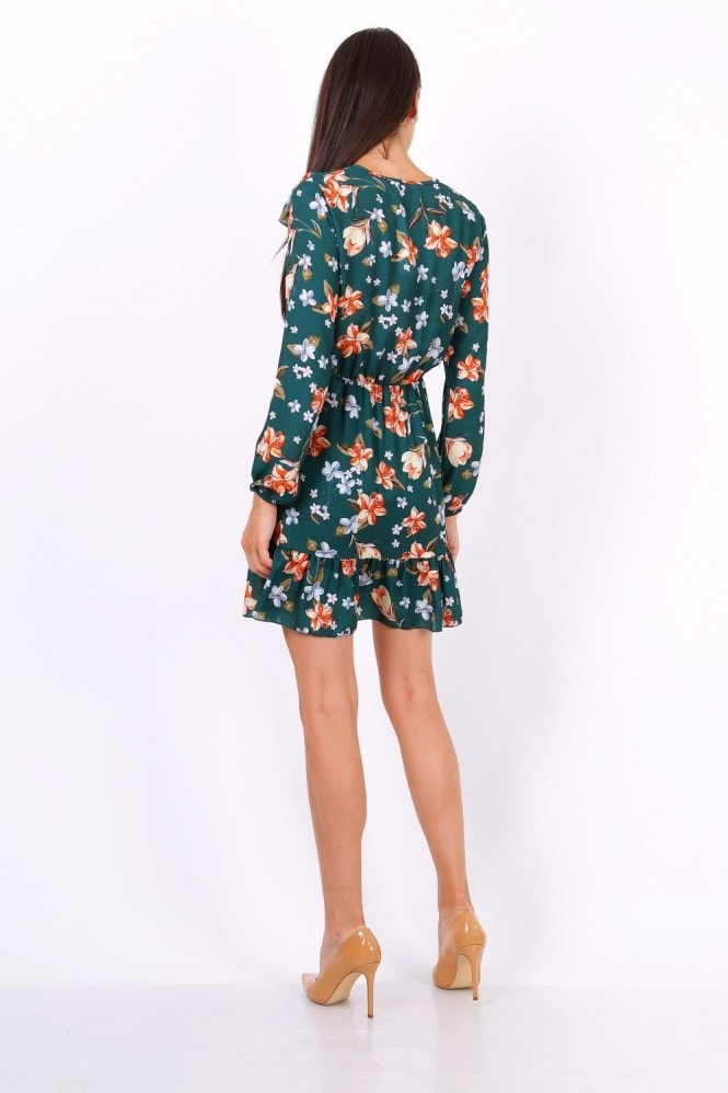 Lilura London Green Floral Print Tie Neck Shift Dress
