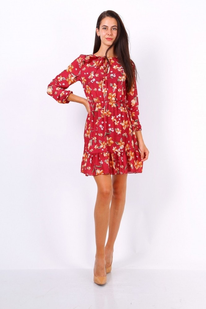 Lilura London Red Floral Print Tie Neck Shift Dress
