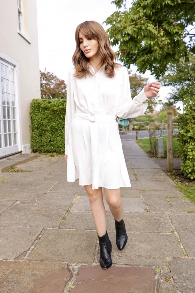 Ivory Tye Waist Shirt Dress