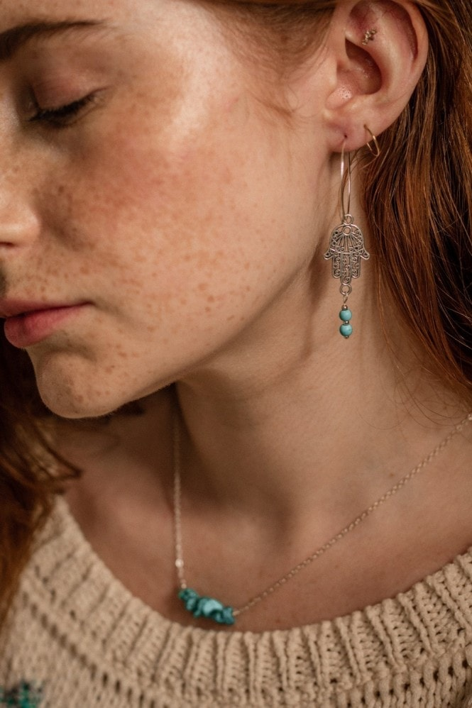 Xander Kostroma Turquoise Sterling Silver Hoop & Hamsa Hand Semi Precious Stone Earrings