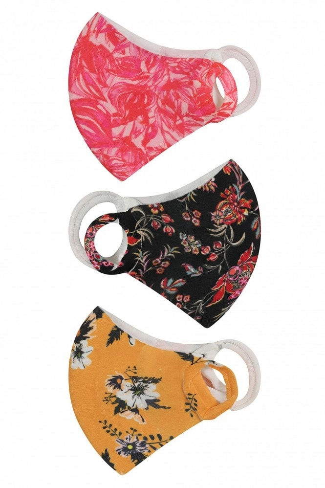 Little Mistress Personal Care Mixed Floral-Print 3 Pack Mask Face Coverings