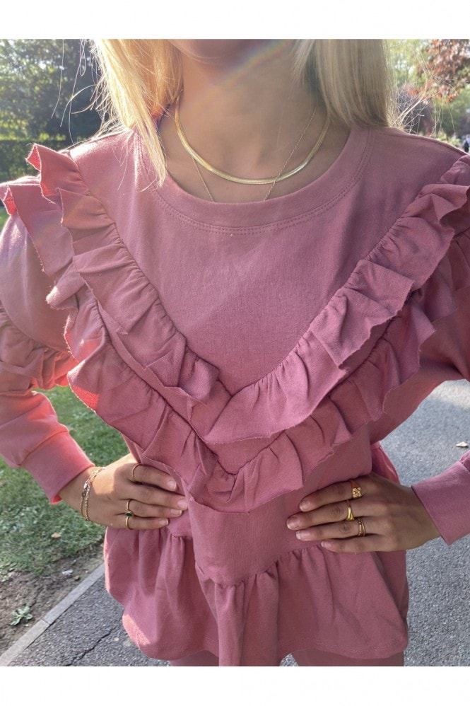 Dusty Pink Frill Sleeve Lounge Co-Ord