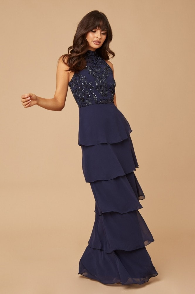 Little Mistress Bridesmaid Lila Navy Sequin Tiered Hem Maxi Dress