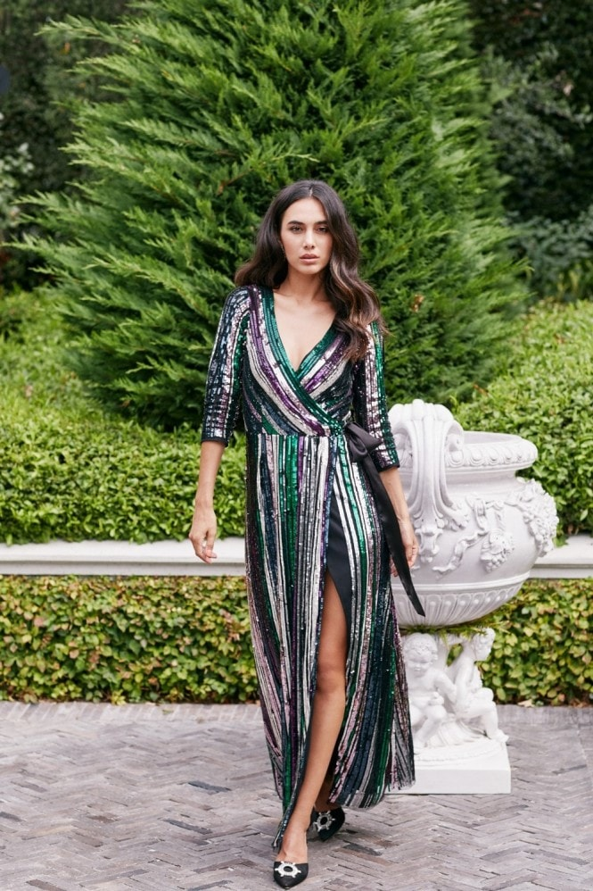 Little Mistress Cecily Rainbow Sequin Embellished Maxi Wrap Dress