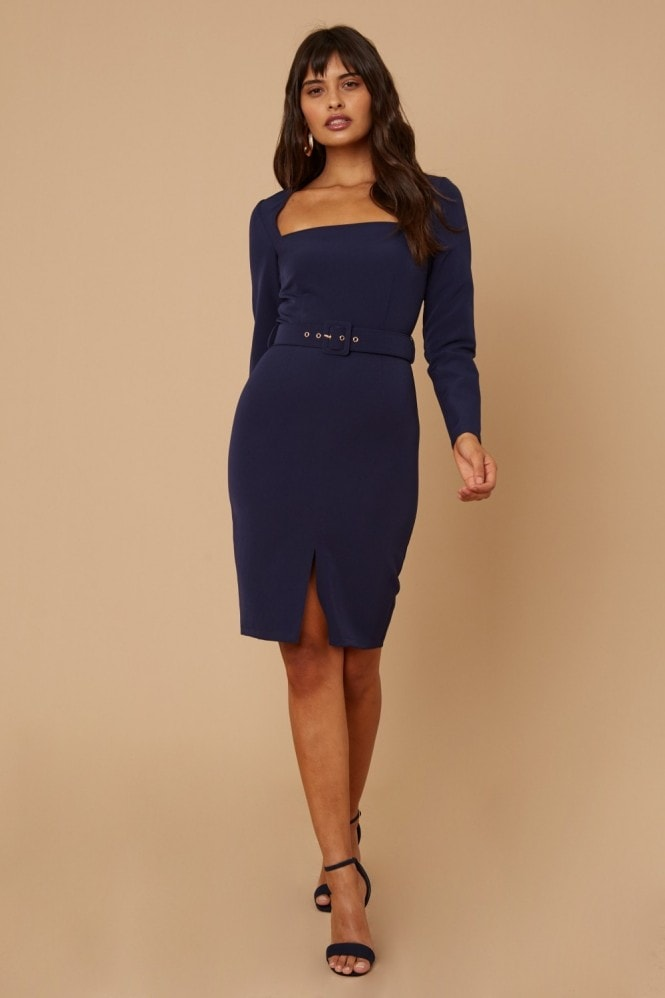 Little Mistress Joey Navy Square-Neck Belted Bodycon Dress