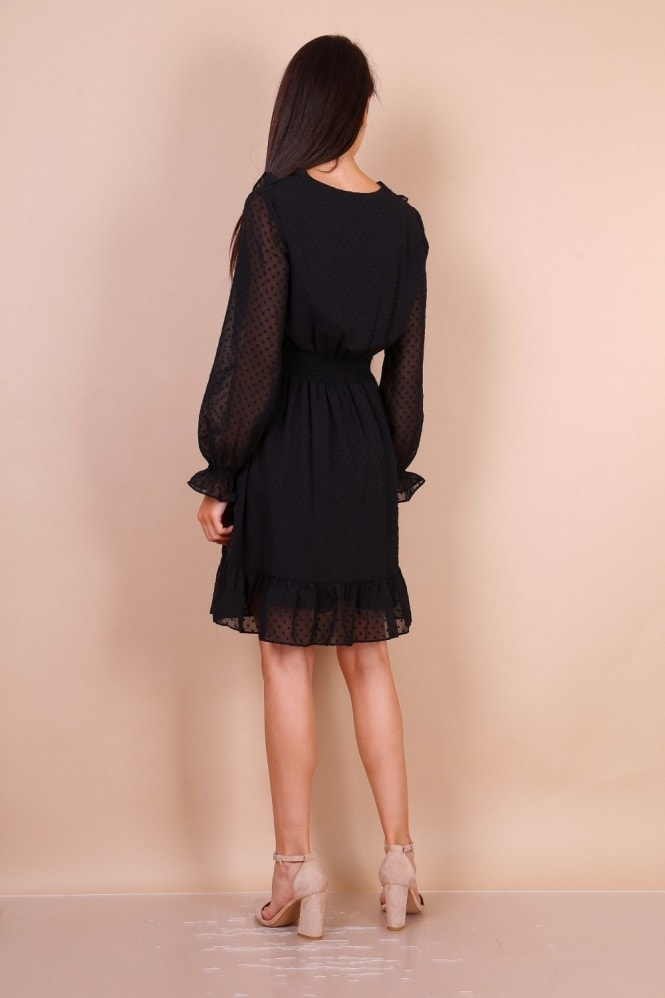 Lilura London Dobby Lace Mini Dress With Shirred Waist In Black