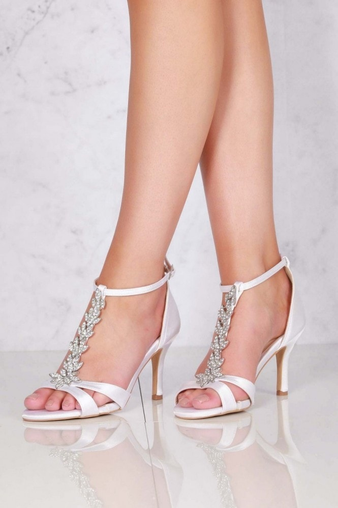 Miss Diva Momentous Satin Open Toe Flower in Ivory Satin